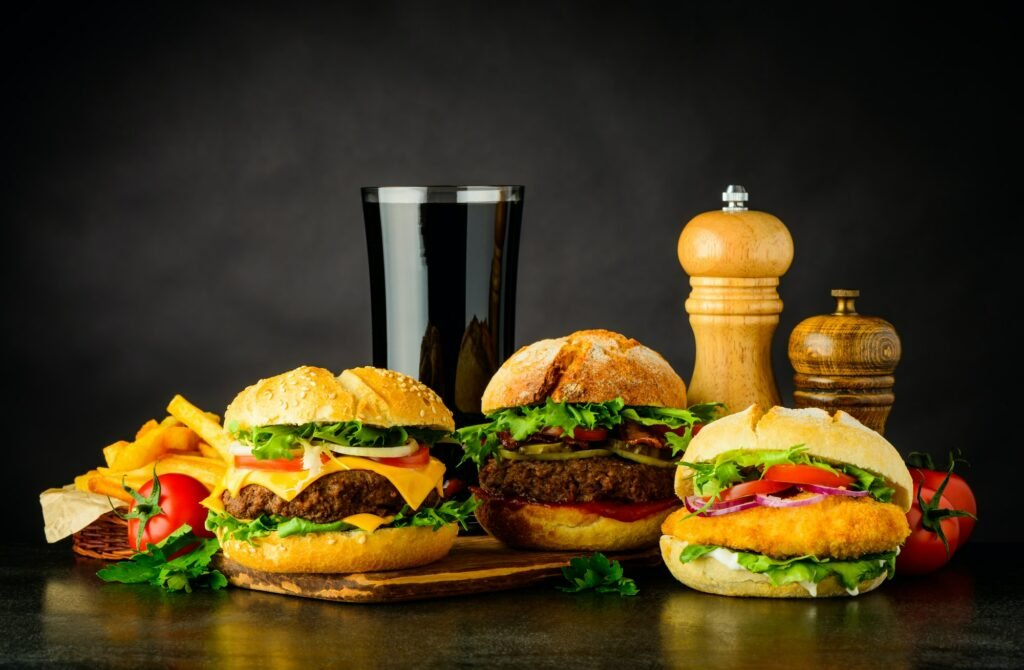 Different Burgers with Cola Fast Food